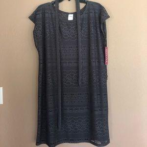 Grey Crochet Swim Coverup